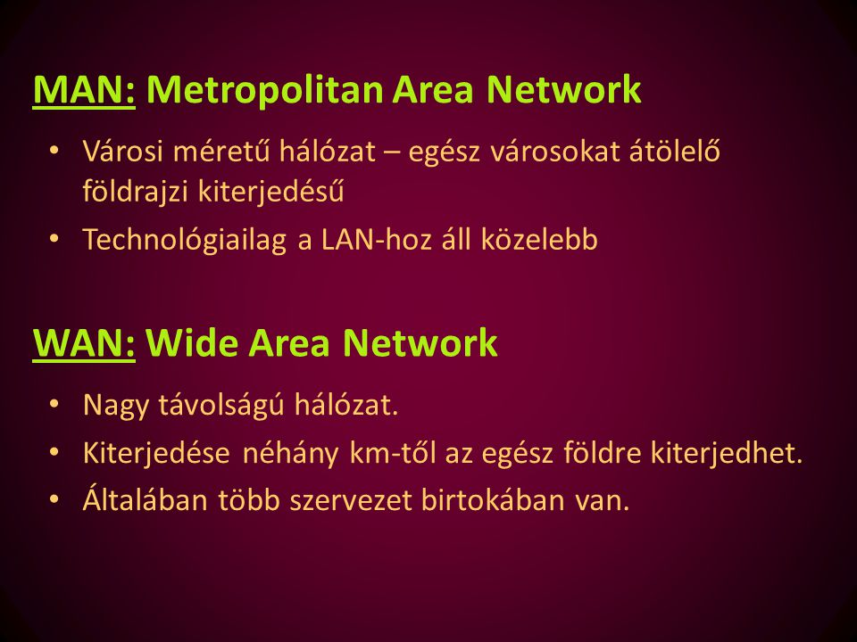 MAN: Metropolitan Area Network