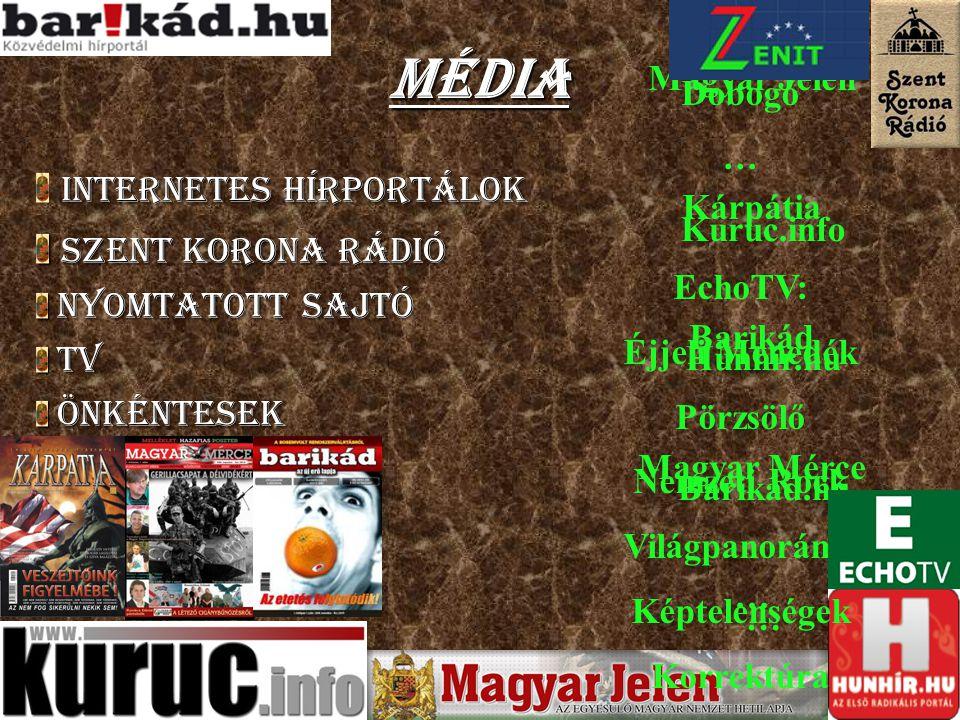 Média Internetes hírportálok Szent Korona Rádió Nyomtatott sajtó TV