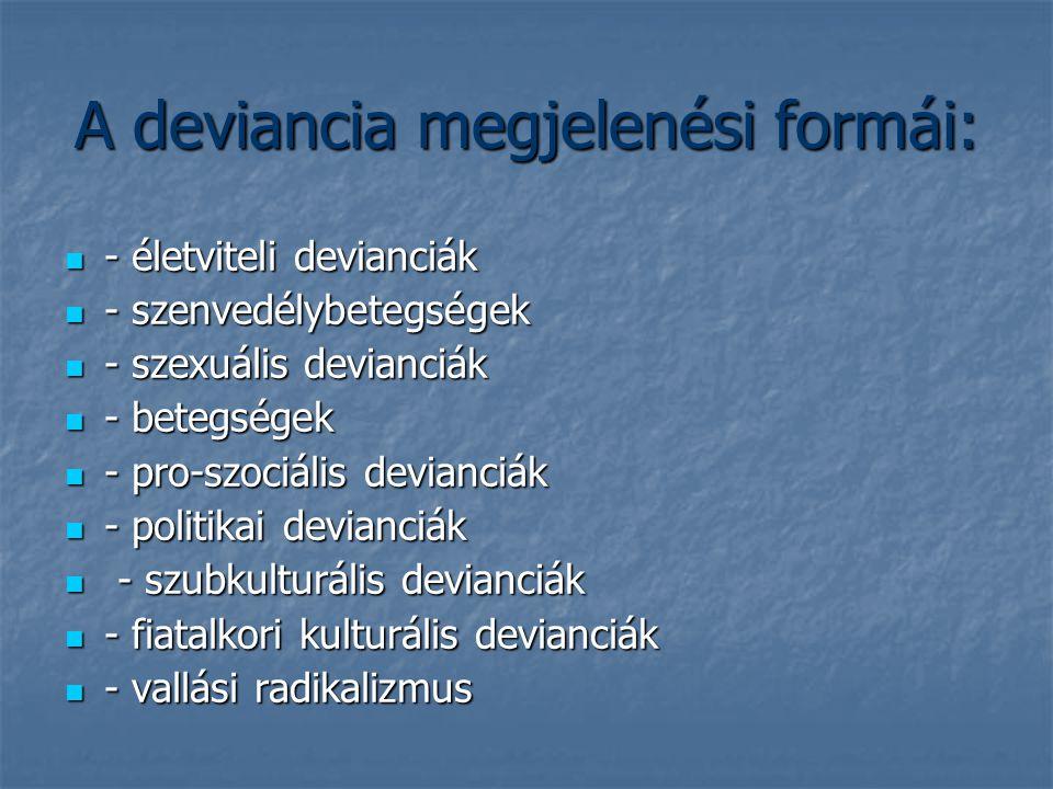 A deviancia megjelenési formái: