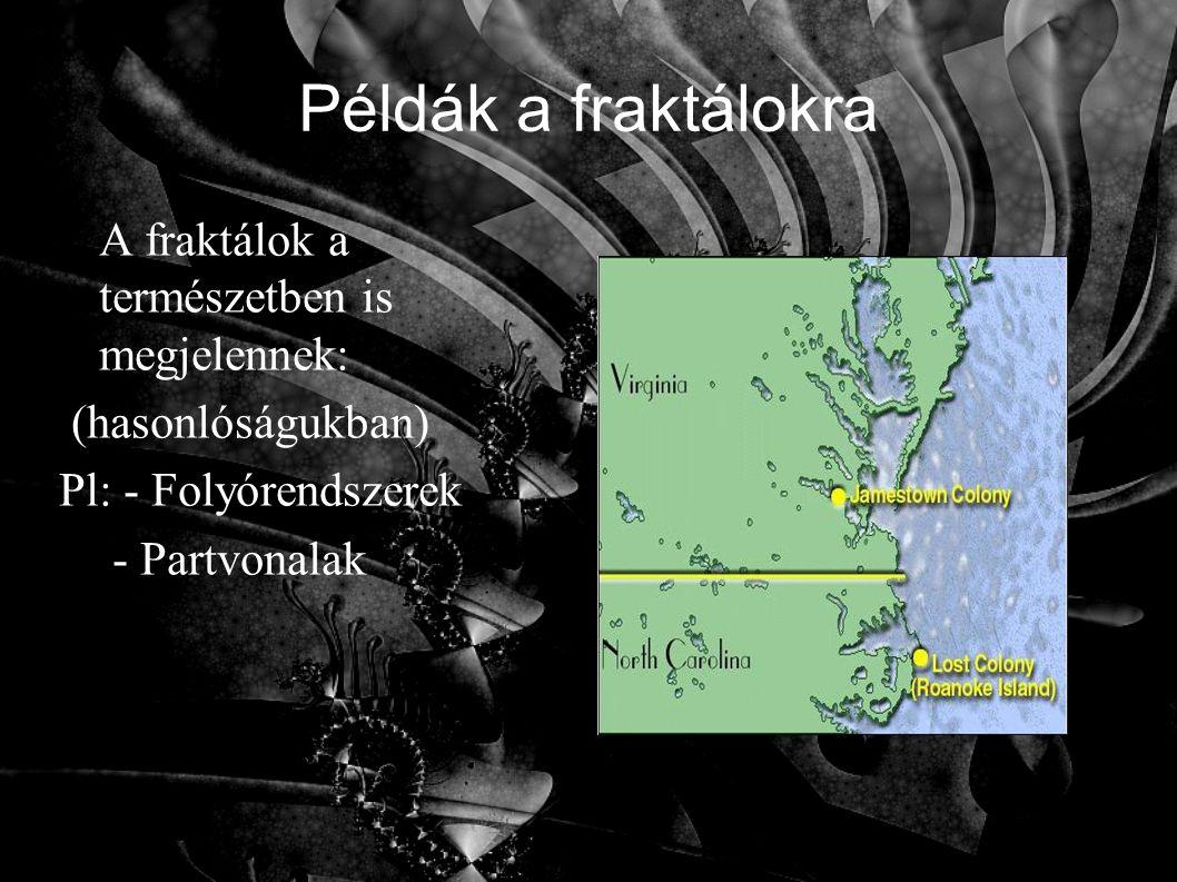 Példák a fraktálokra A fraktálok a természetben is megjelennek: