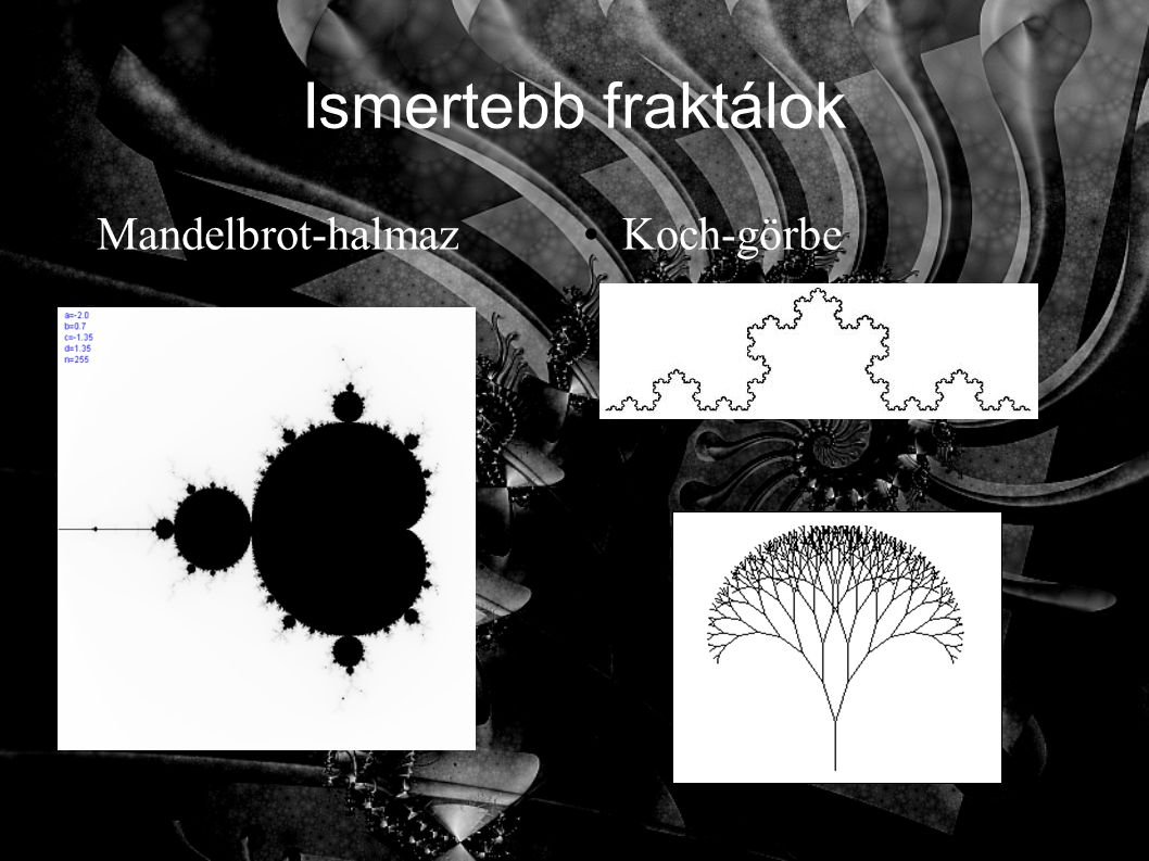 Ismertebb fraktálok Mandelbrot-halmaz Koch-görbe