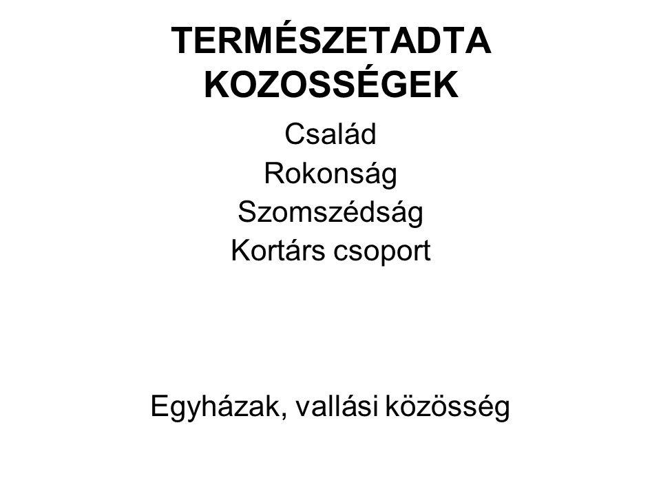 TERMÉSZETADTA KOZOSSÉGEK