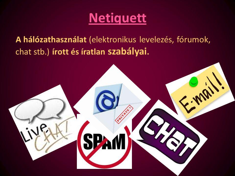 Netiquett A hálózathasználat (elektronikus levelezés, fórumok, chat stb.) írott és íratlan szabályai.