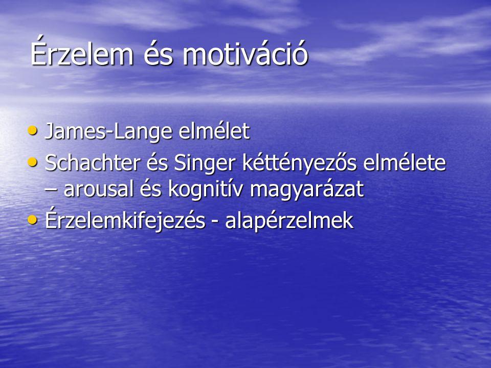 Érzelem és motiváció James-Lange elmélet