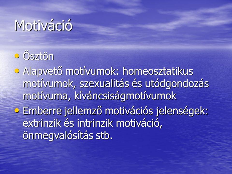 Motiváció Ösztön. Alapvető motívumok: homeosztatikus motívumok, szexualitás és utódgondozás motívuma, kíváncsiságmotívumok.