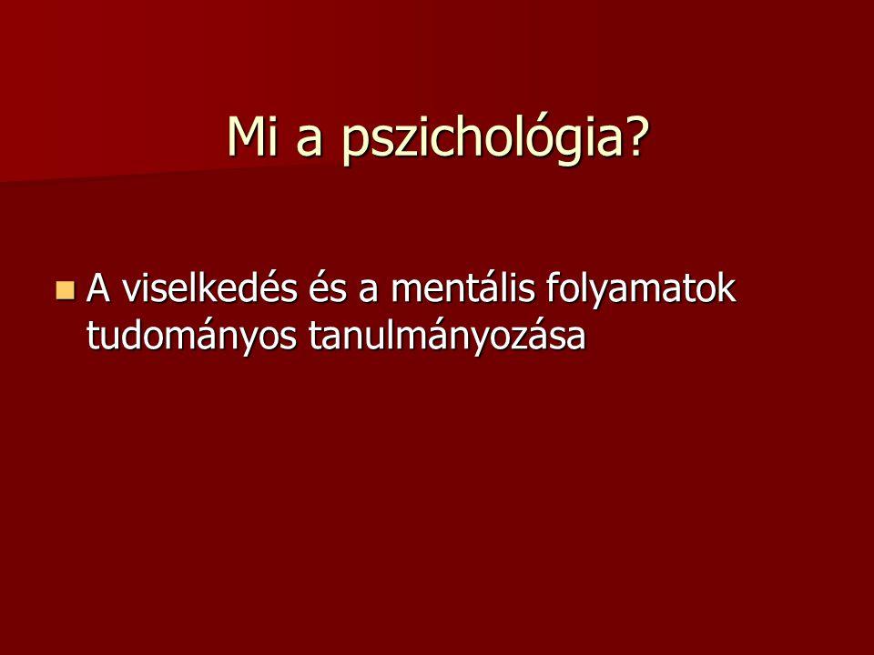 Mi a pszichológia A viselkedés és a mentális folyamatok tudományos tanulmányozása
