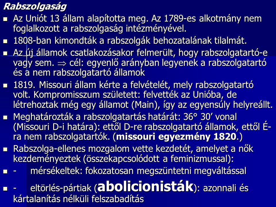 Rabszolgaság Az Uniót 13 állam alapította meg. Az 1789-es alkotmány nem foglalkozott a rabszolgaság intézményével.