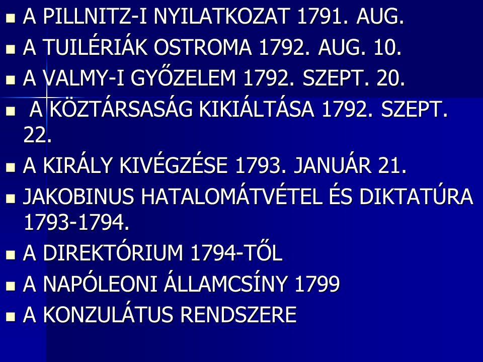 A PILLNITZ-I NYILATKOZAT 1791. AUG.