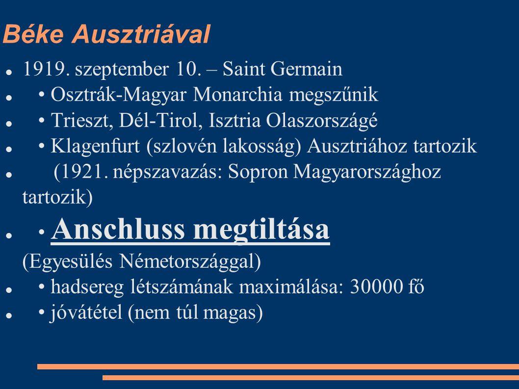 Béke Ausztriával 1919. szeptember 10. – Saint Germain