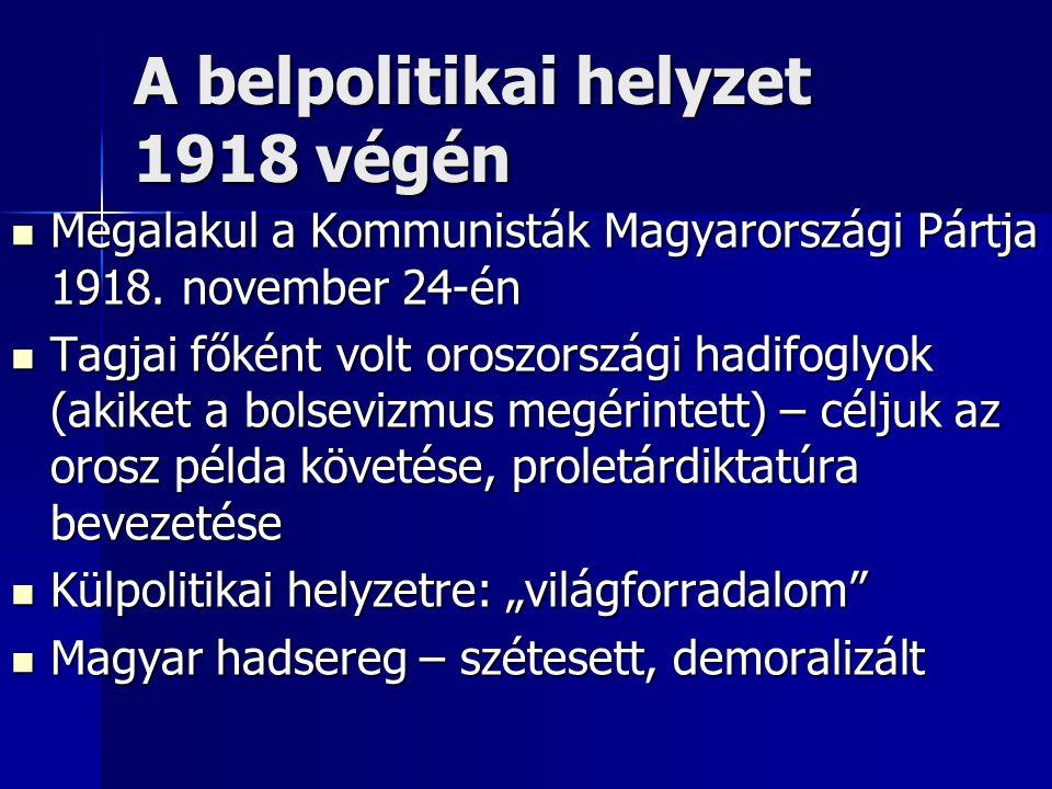 A belpolitikai helyzet 1918 végén