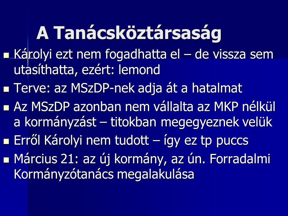 A Tanácsköztársaság Károlyi ezt nem fogadhatta el – de vissza sem utasíthatta, ezért: lemond. Terve: az MSzDP-nek adja át a hatalmat.