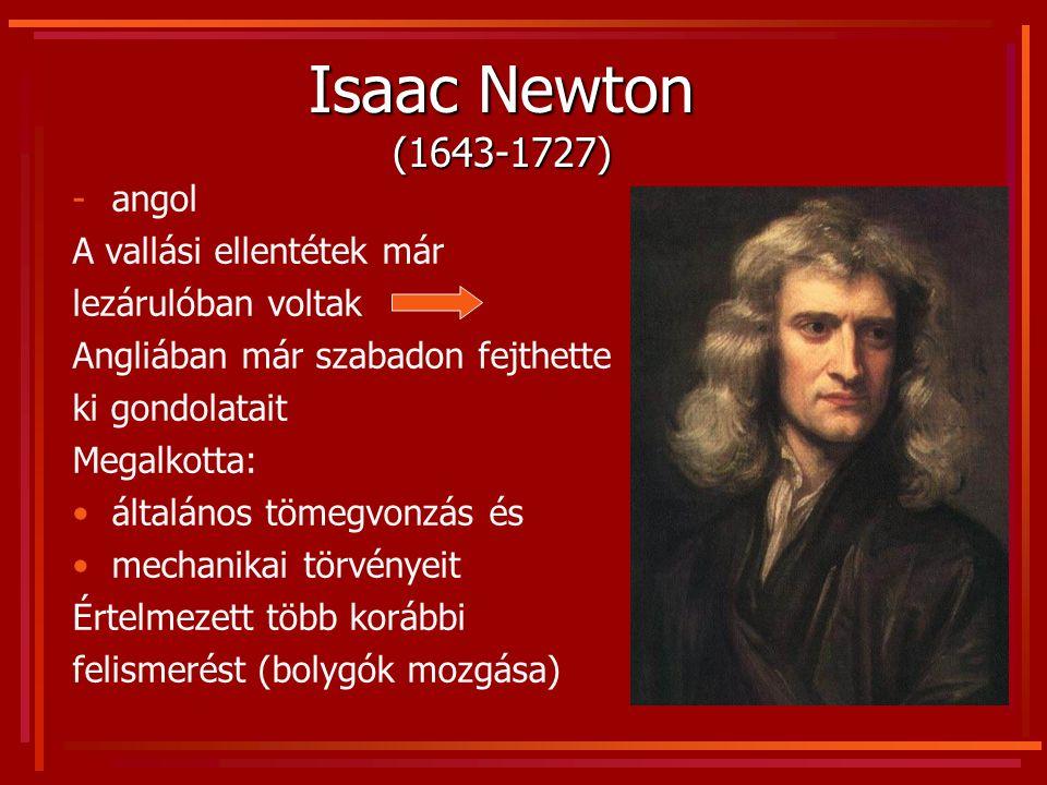 Isaac Newton (1643-1727) angol A vallási ellentétek már