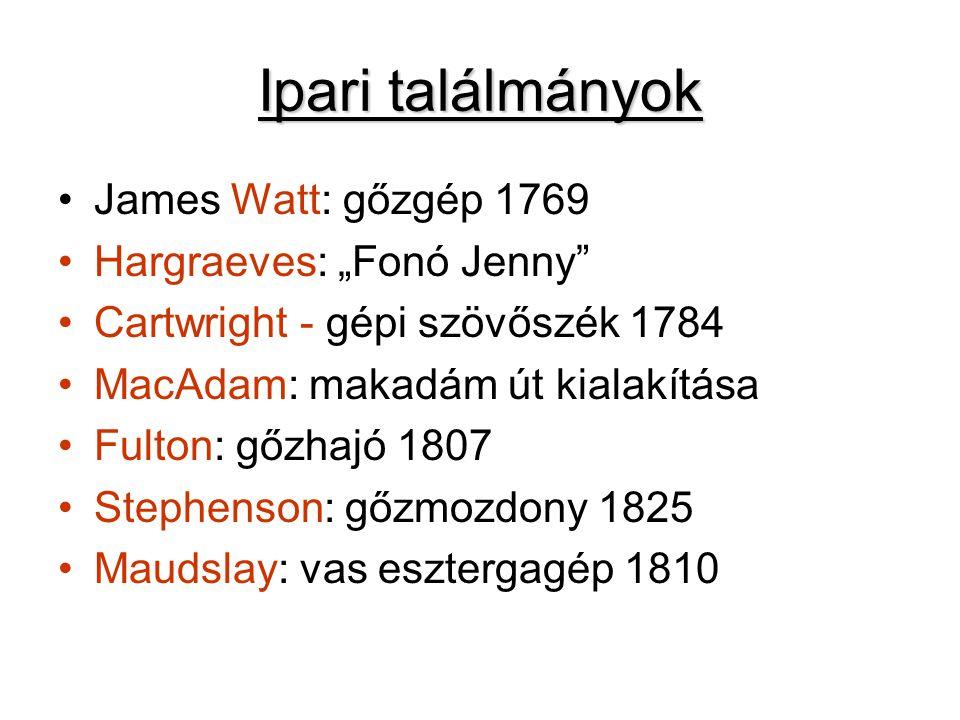 """Ipari találmányok James Watt: gőzgép 1769 Hargraeves: """"Fonó Jenny"""