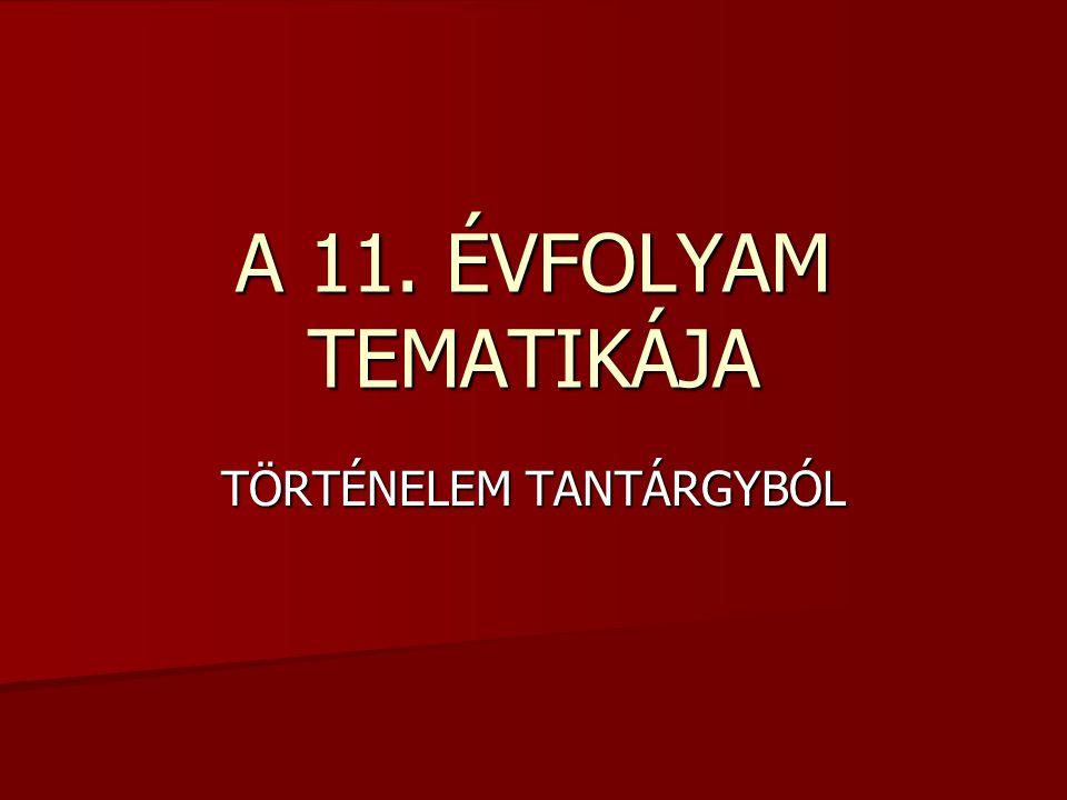 TÖRTÉNELEM TANTÁRGYBÓL