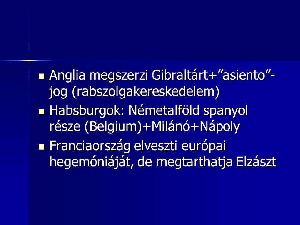Anglia megszerzi Gibraltárt+ asiento -jog (rabszolgakereskedelem)
