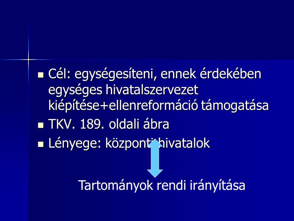 Cél: egységesíteni, ennek érdekében egységes hivatalszervezet kiépítése+ellenreformáció támogatása