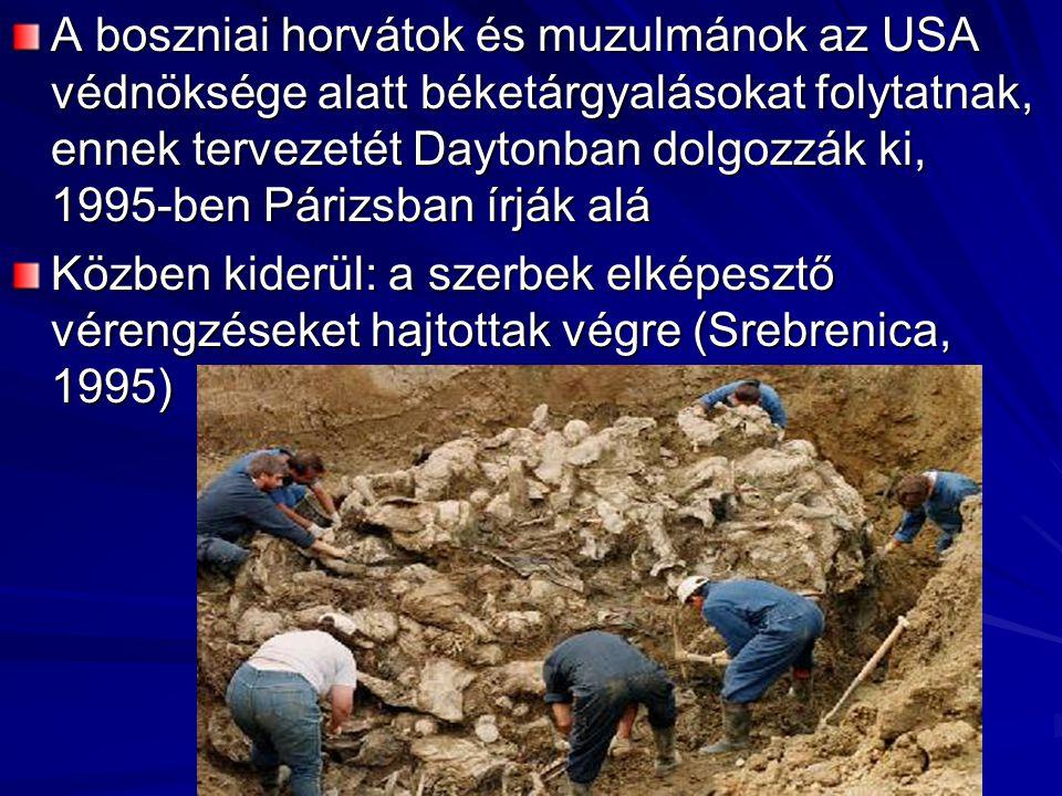 A boszniai horvátok és muzulmánok az USA védnöksége alatt béketárgyalásokat folytatnak, ennek tervezetét Daytonban dolgozzák ki, 1995-ben Párizsban írják alá