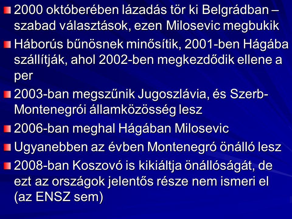 2000 októberében lázadás tör ki Belgrádban – szabad választások, ezen Milosevic megbukik