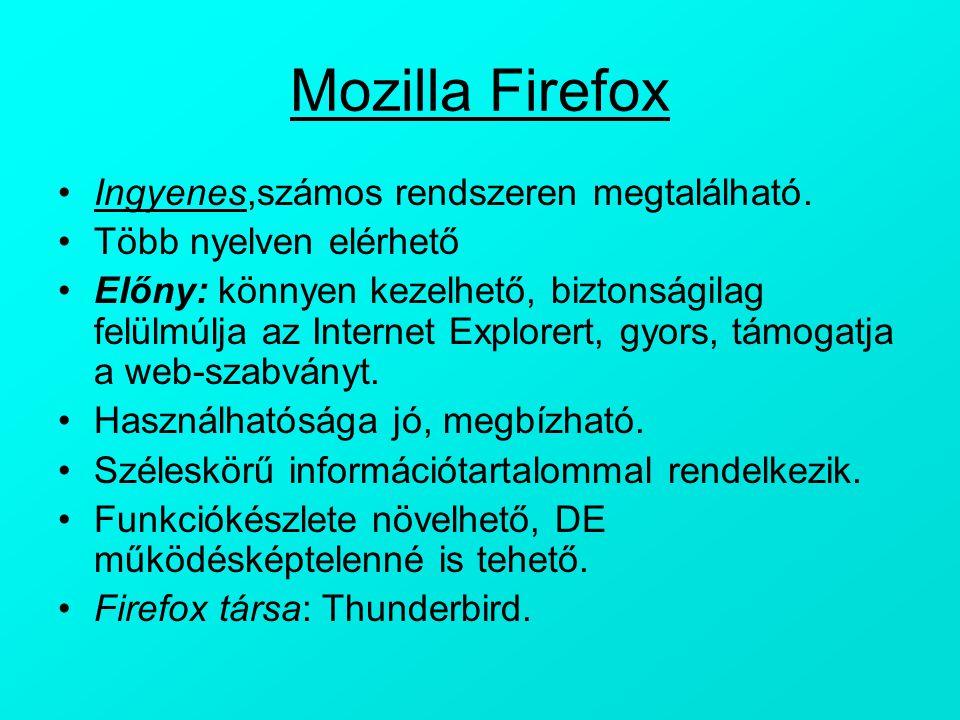 Mozilla Firefox Ingyenes,számos rendszeren megtalálható.