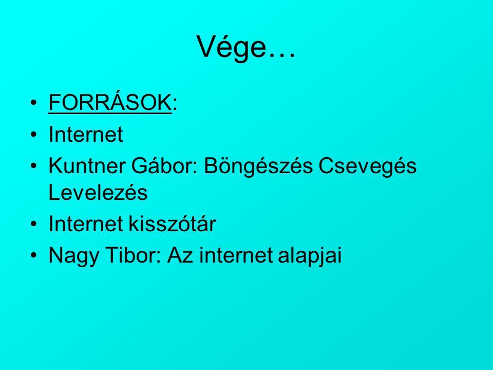 Vége… FORRÁSOK: Internet Kuntner Gábor: Böngészés Csevegés Levelezés