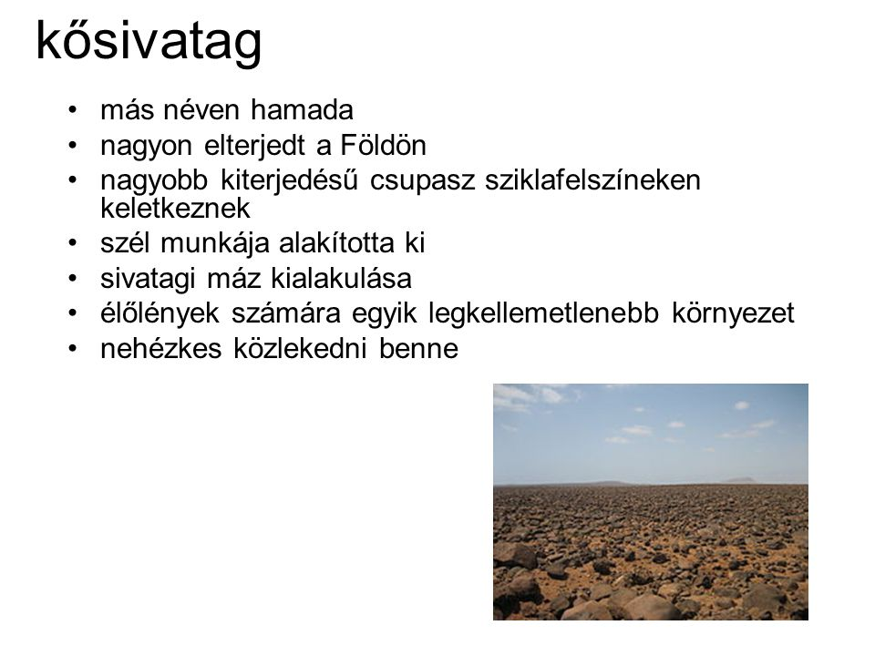 kősivatag más néven hamada nagyon elterjedt a Földön
