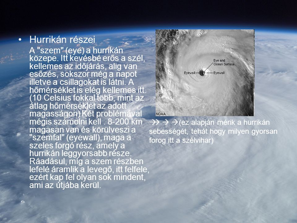 Hurrikán részei