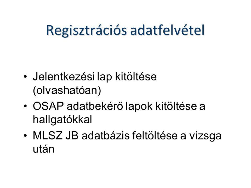 Regisztrációs adatfelvétel