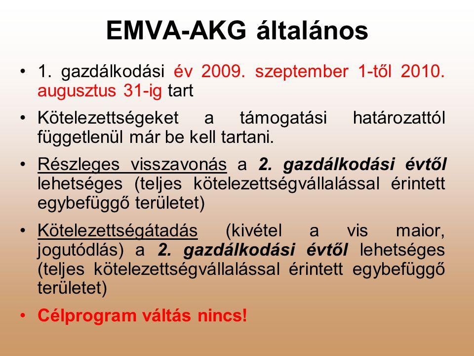 EMVA-AKG általános 1. gazdálkodási év 2009. szeptember 1-től 2010. augusztus 31-ig tart.