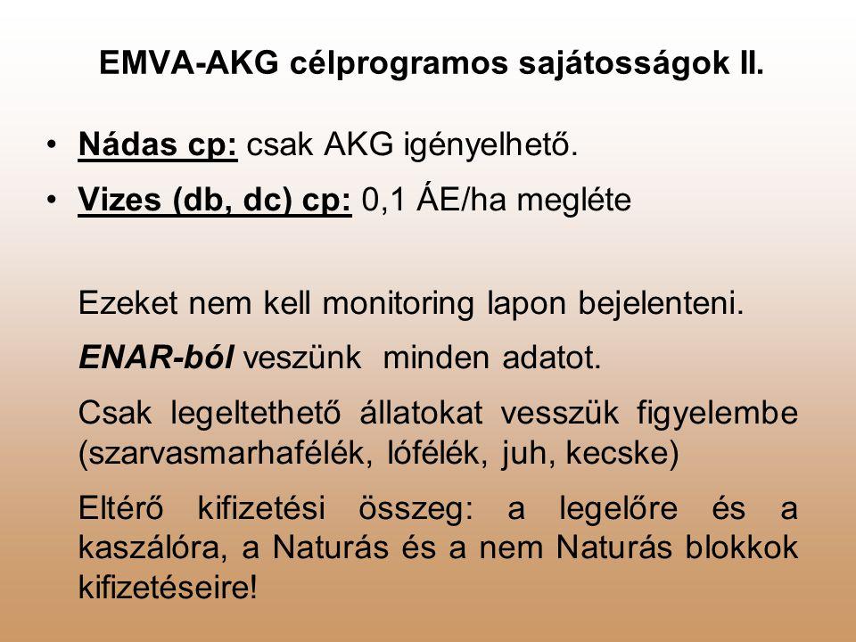 EMVA-AKG célprogramos sajátosságok II.