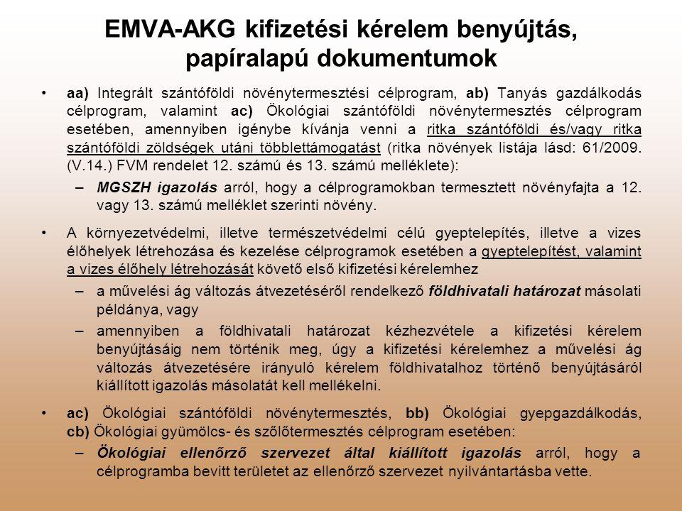 EMVA-AKG kifizetési kérelem benyújtás, papíralapú dokumentumok