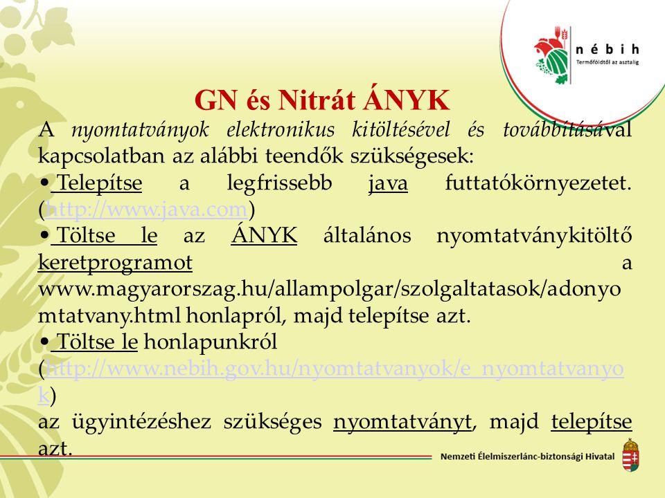 GN és Nitrát ÁNYK A nyomtatványok elektronikus kitöltésével és továbbításával kapcsolatban az alábbi teendők szükségesek: