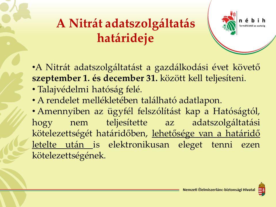 A Nitrát adatszolgáltatás határideje