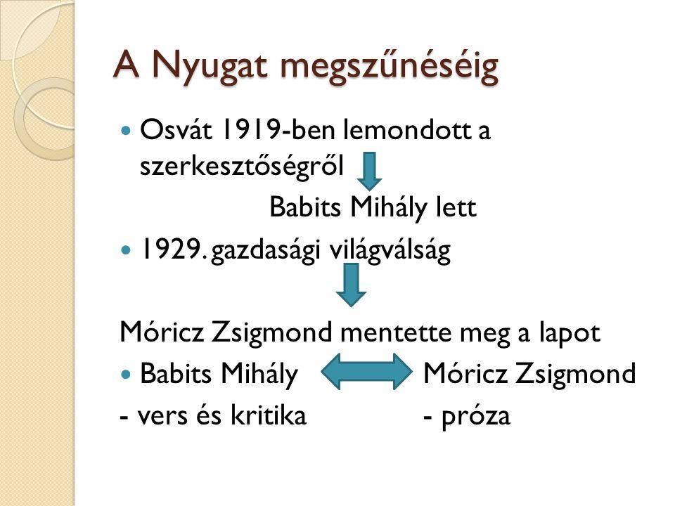 A Nyugat megszűnéséig Osvát 1919-ben lemondott a szerkesztőségről