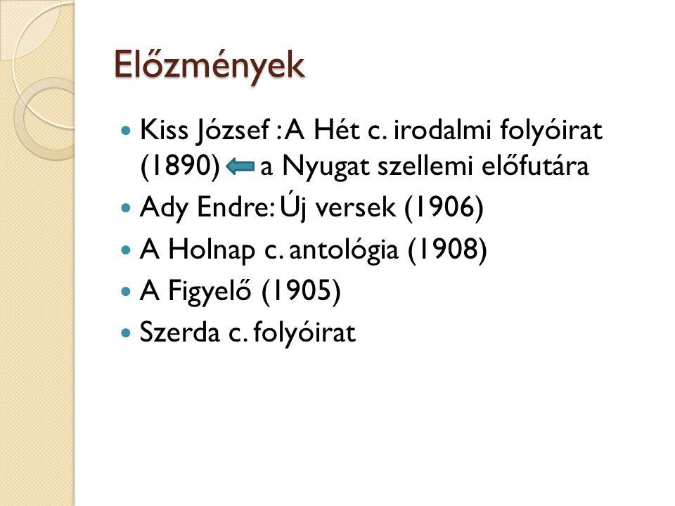 Előzmények Kiss József : A Hét c. irodalmi folyóirat (1890) a Nyugat szellemi előfutára. Ady Endre: Új versek (1906)