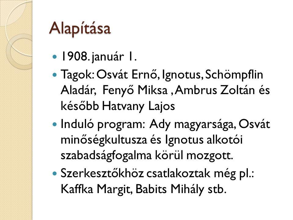 Alapítása 1908. január 1. Tagok: Osvát Ernő, Ignotus, Schömpflin Aladár, Fenyő Miksa , Ambrus Zoltán és később Hatvany Lajos.