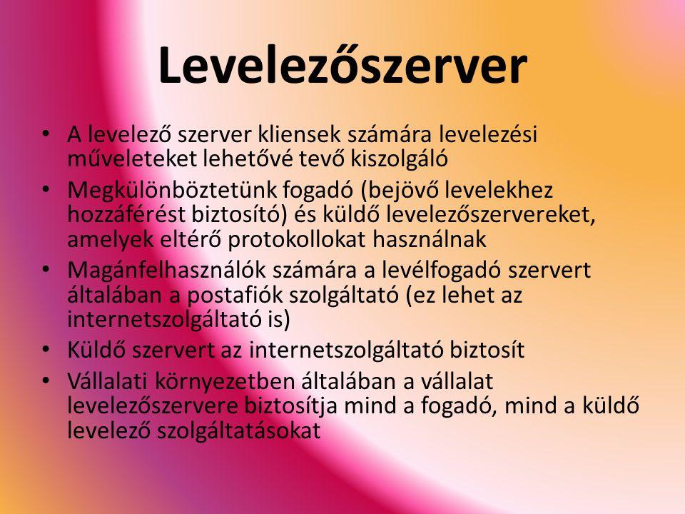 Levelezőszerver A levelező szerver kliensek számára levelezési műveleteket lehetővé tevő kiszolgáló.