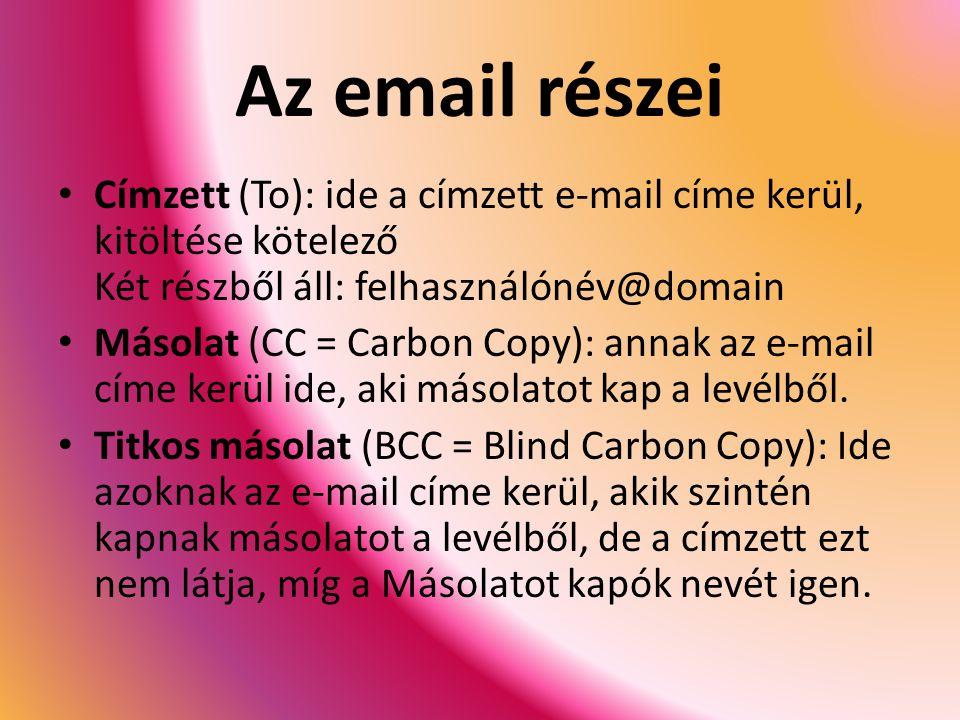 Az email részei Címzett (To): ide a címzett e-mail címe kerül, kitöltése kötelező Két részből áll: felhasználónév@domain.