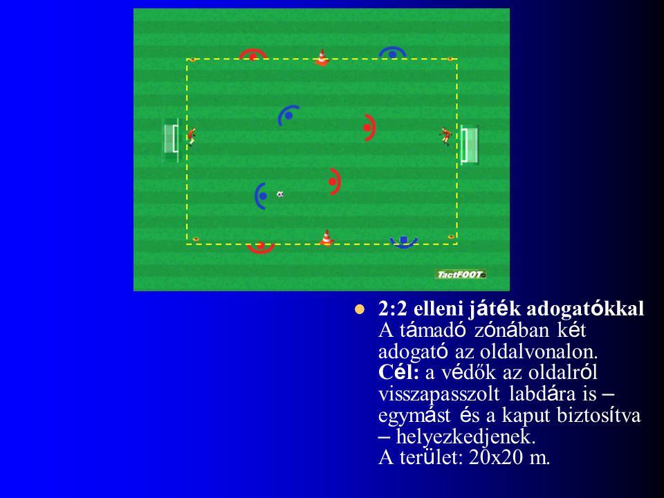 2:2 elleni játék adogatókkal A támadó zónában két adogató az oldalvonalon.