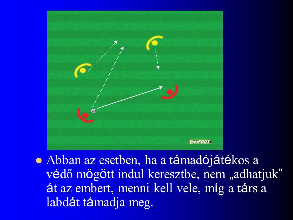"""Abban az esetben, ha a támadójátékos a védő mögött indul keresztbe, nem """"adhatjuk át az embert, menni kell vele, míg a társ a labdát támadja meg."""