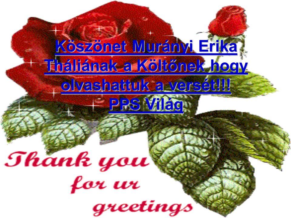Köszönet Murányi Erika Tháliának a Költőnek hogy olvashattuk a versét