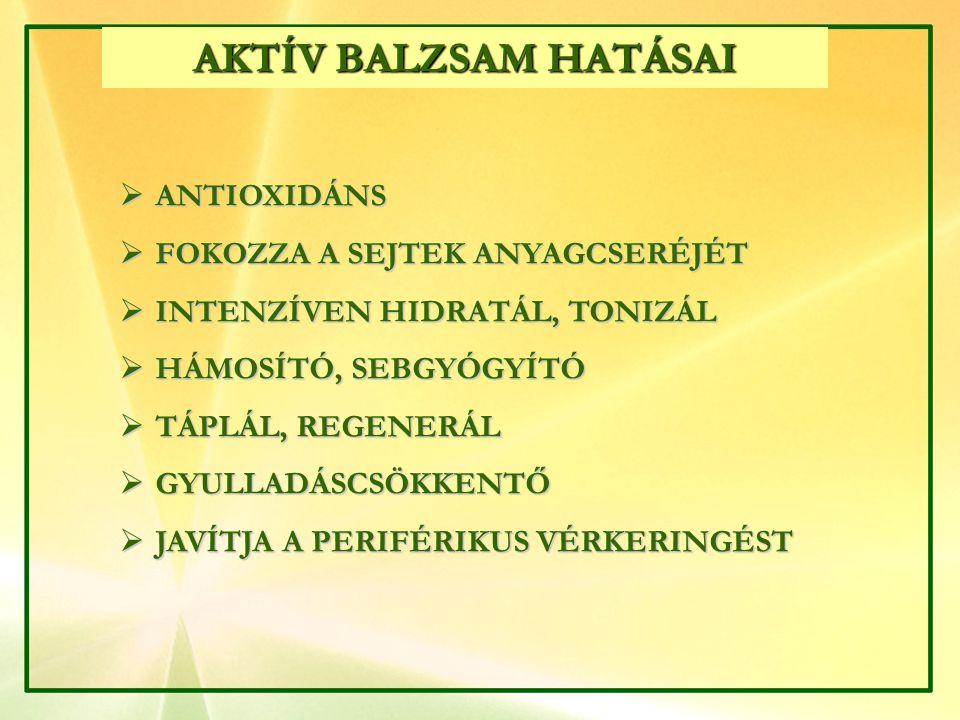 AKTÍV BALZSAM HATÁSAI ANTIOXIDÁNS FOKOZZA A SEJTEK ANYAGCSERÉJÉT