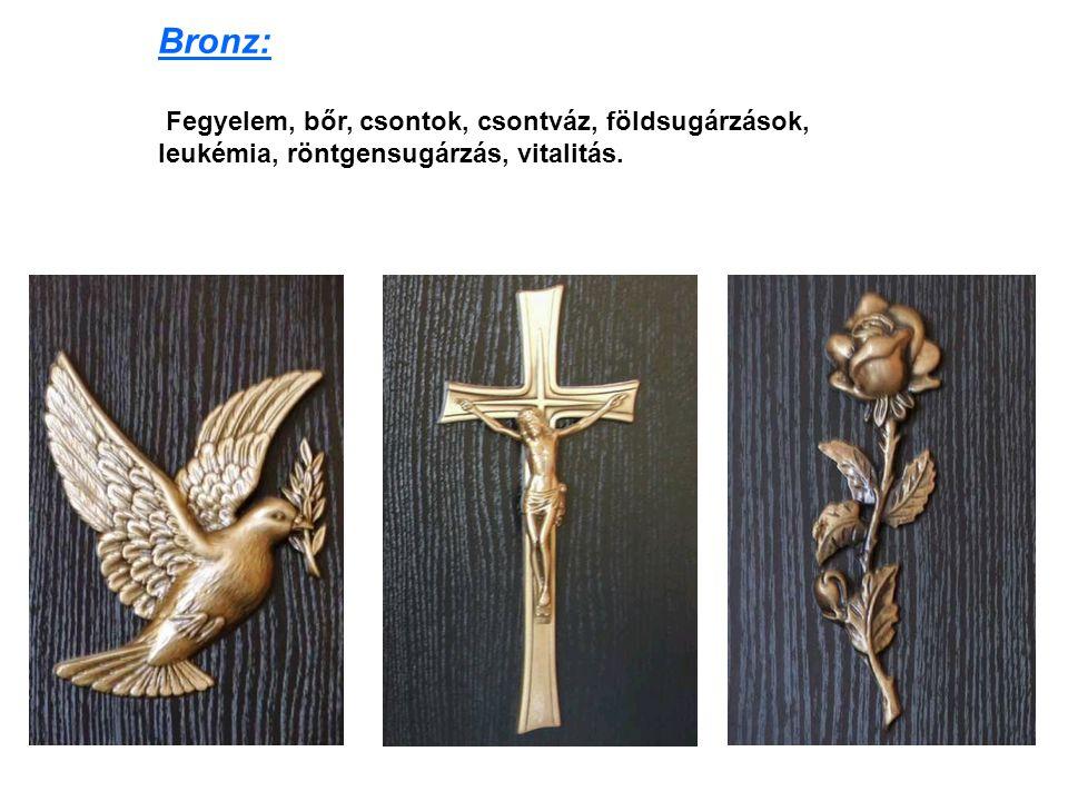 Bronz: Fegyelem, bőr, csontok, csontváz, földsugárzások, leukémia, röntgensugárzás, vitalitás.