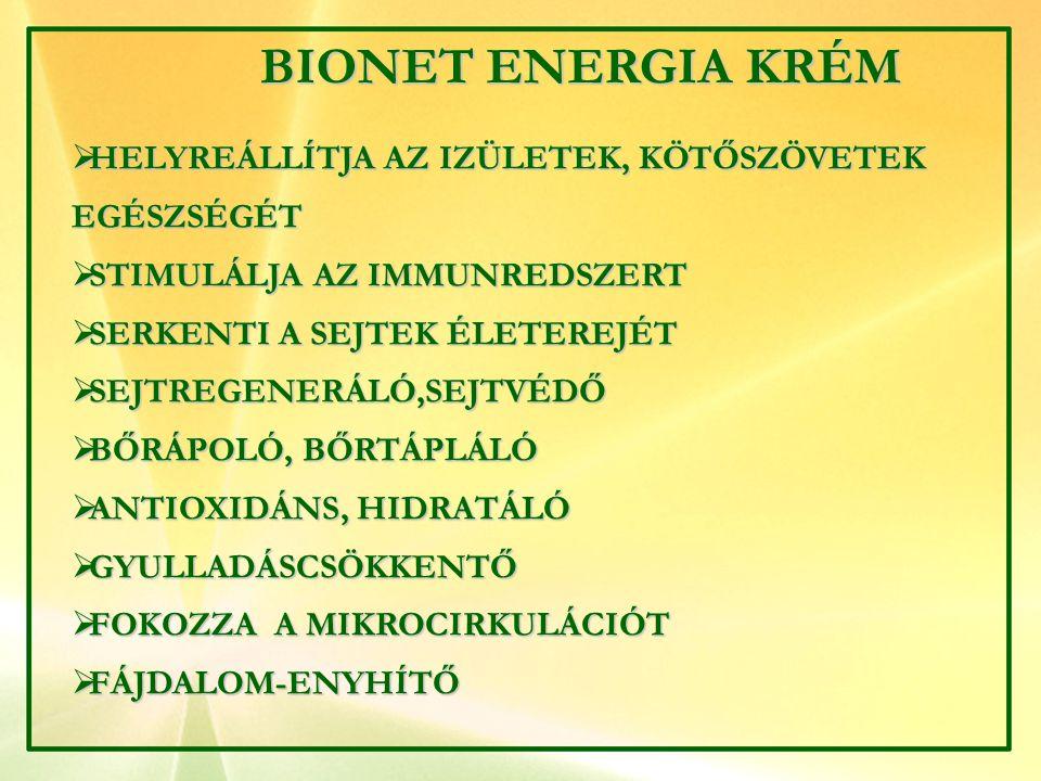 BIONET ENERGIA KRÉM HELYREÁLLÍTJA AZ IZÜLETEK, KÖTŐSZÖVETEK EGÉSZSÉGÉT