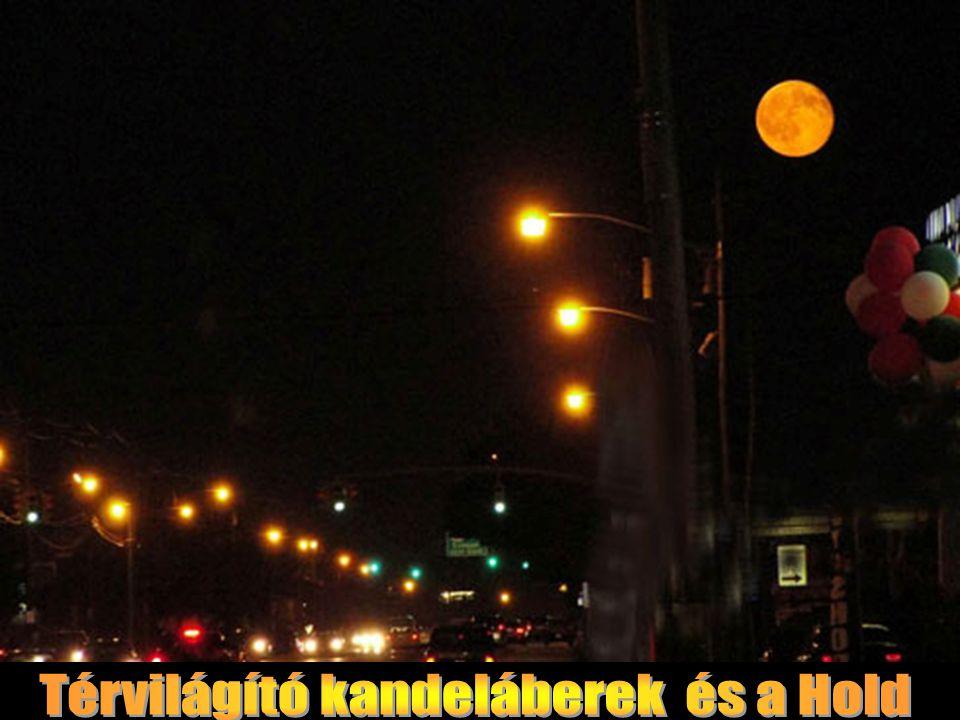 Térvilágító kandeláberek és a Hold