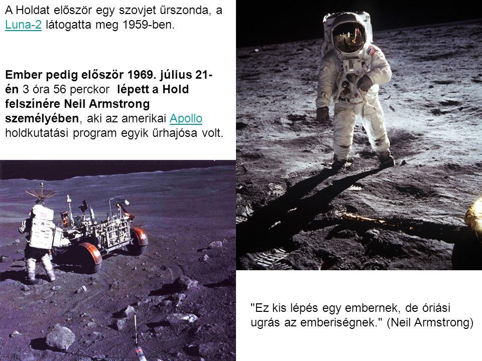 A Holdat először egy szovjet űrszonda, a Luna-2 látogatta meg 1959-ben.