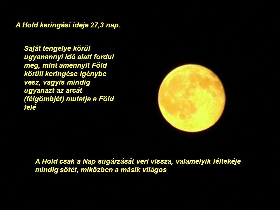 A Hold keringési ideje 27,3 nap.