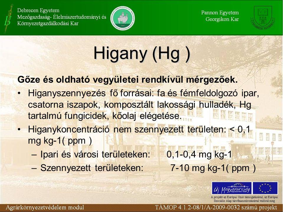 Higany (Hg ) Gőze és oldható vegyületei rendkívül mérgezőek.