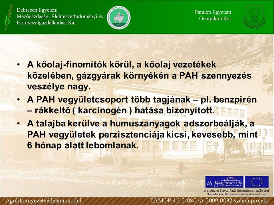 A kőolaj-finomítók körül, a kőolaj vezetékek közelében, gázgyárak környékén a PAH szennyezés veszélye nagy.
