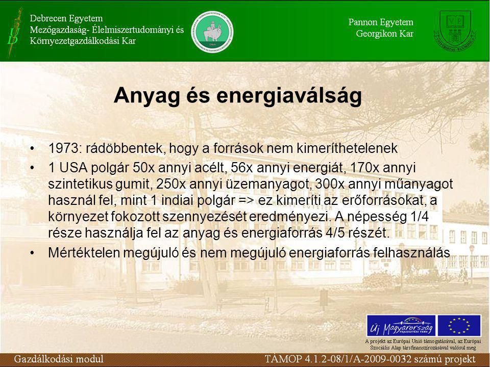 Anyag és energiaválság