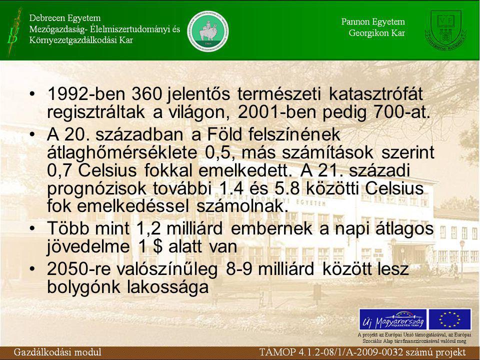 1992-ben 360 jelentős természeti katasztrófát regisztráltak a világon, 2001-ben pedig 700-at.